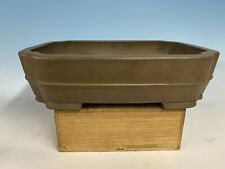 Unglazed Tokoname Bonsai Tree Pot By Shukozan 16 5/8� Rectangle With Band