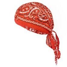 Fitted Bandana Cotton Orange Black  Scatter Paisley Easy Tie Headscarf Head Wrap