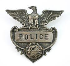 Obsolete Antique Sterling Silver Florida Police Hat Badge LDA38