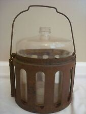 GLASS JUG W/ METAL STAND HOLDER CARRIER WATER FUEL 933