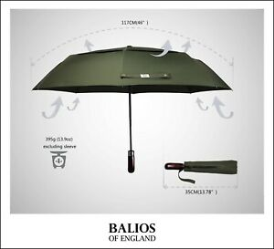 Balios Olive Green Double Canopy Umbrella Real Wood Auto Open&Close Windproof