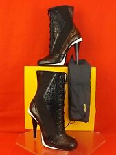 NIB FENDI BLACK NAVY BROWN CROCO PRINT VICTORIAN LACE UP ANKLE BOOTS 40 $1290