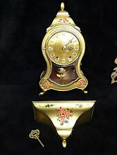Swiss mantle Shelf Boulle Clock with wall sconce by Bucherer  8-day Works!