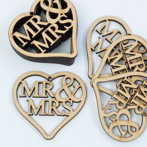 """""""MR & MRS"""" Love Hearts Tags Hanging MDF Wooden Wedding Rustic Crafts Decor Wood"""