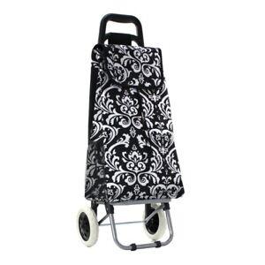 NGIL Black Damask Print Rolling Shopping Tote Bag Cart Free Shipping! NWT