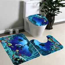 Fabric Pedestal Mat 3Pcs Blue Ocean Bath Rugs Set Velvet Toilet Set Cover Carpet