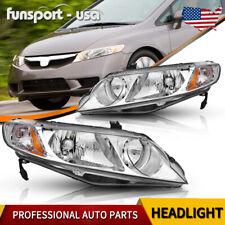 Headlights Assembly For 2006 2011 Honda Civic Sedan 4dr Chrome Housing Headlamps Fits 2006 Civic