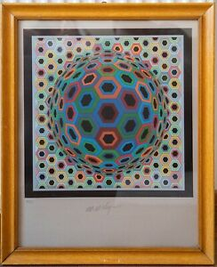 Victor Vasarely OP ART Hand Signed Numbered Serigraph Screen Print Abstract Geo
