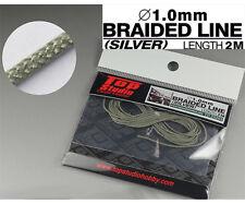 1/12-20-24 1.0mm SILVER COLOURED BRAIDED LINE CLOTH 2m for TAMIYA DOYUSHA BANDAI