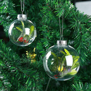 1-20X Clear Plastic Ball Fillable Bauble Hanging/Table LED Candle Tea Light Hold