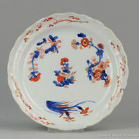 Antique 17th / 18th C Japanese Porcelain Plate Imari Japan Edo Period Lobbed