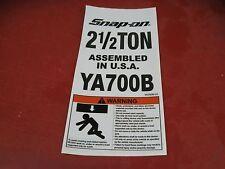 Snap on Tools YA700B-LO Safety Label Sticker for YA-700B Floor Jack