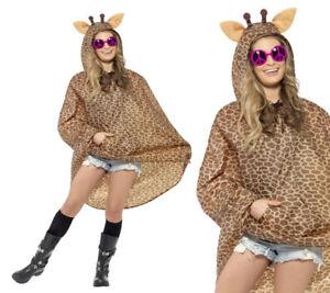 Ladies Mens Unisex Animal Ponchos Showerproof Festival Adult Fancy Dress Giraffe