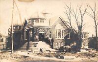 Columbus Kansas~New Christian Church Under Construction~Workers~1913 RPPC