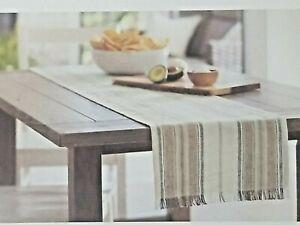 """Threshold Farmhouse Extended Length Stripe Table Runner 14"""" x 108"""""""