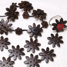 B638 Natural Coconut Carved Flower Buttons for Sewing Craft Art DIY 20mm 30pcs
