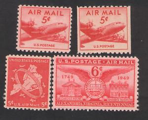 US.  C33, C37, C38,  C40. Air Stamps  Lot of 4. MNH.