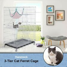 Portable 3-Tier Ferret Cat Cage Home Fold Pet Cat Mesh Playpen 30X20X45Inch Beg