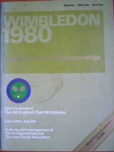 Wimbledon 1980 Official Tennis Championship Sixth Day Programme (28th June 1980)