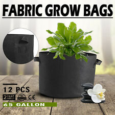 12 Pack 65 Gallon Fabric Plant Grow Bags With Handles Plant Roots Durable Pots