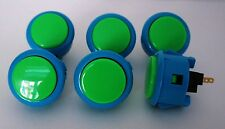 Japan Sanwa Push Buttons Mix Blue Green x 6 pcs Video Game Arcade Parts OBSF-30