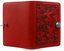 "Hummingbird Red Small 5""x7"" Leather Journal by Oberon Design COMBINED SHIPPING"
