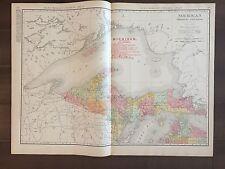 """Large 21"""" X 28"""" COLOR Rand McNally Map of Michigan(Northern Peninsula)-1905"""
