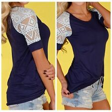 S Fashion Women's Loose Summer Tops Lace Short Sleeve T Shirt Casual Blouse Tee