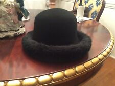 """BLACK FUR HAT PURCHASED BLOOMINGDALE NYC  INTERIOR SIZE 7 """""""