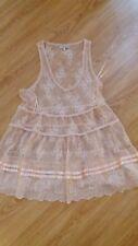 River Island Peach Nude Blush Lace Frill Ribbon Top 6 Unworn Cond!