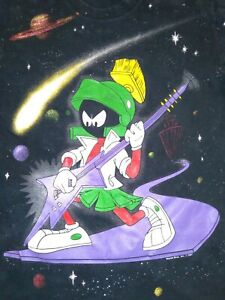 Vtg 1991 Marvin The Martian Loony Toons T-Shirt All-Over Print Size L Giant Tag