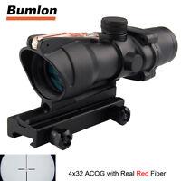 ACOG 4X32 Real Red Fiber Source Real Optics Illuminated Crosshair Rifle Scope