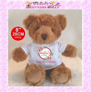 """Personalised teddy bear brown TRADITIONAL STYLE 8""""/20cm MOTHER'S DAY MOTHERS DAY"""