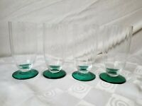 Crystal Parfait Ice Tea Glasses Ribbed Optic Teal Green Footed Goblets Set of 4