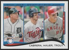 2014 TOPPS #103 LEAGUE LEADERS - MIGUEL CABRERA /JOE MAUER / MIKE TROUT