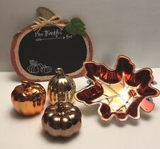 """Harvest Thanksgiving """"Thankful For"""" Sign,Mercury Look Glass Pumpkins &Candy Dish"""