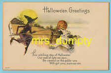 HALLOWEEN Witch Chases Clown JOL ~ NASH Series H-429 ~ UN-Used POSTCARD 1 of 4