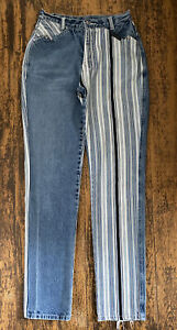 Vtg Western Ethics Size 5/6 Women's Blue Black White Striped High Waist Jeans