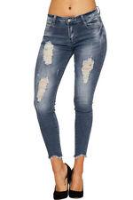 Jeans da donna slim, skinny blu invecchiato