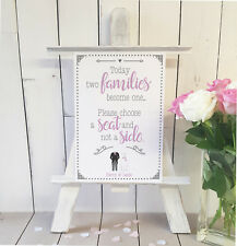Personalise Choose a seat not a side, two families pink wedding sign print