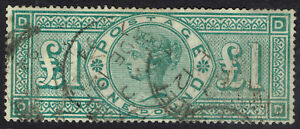 🌟 GB QV SG212 - £1 GREEN 1887-92 JUBILEE HIGH VALUE - GOOD USED - Sc #124