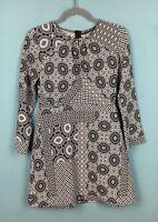 Zara Black White Kaleidoscope Mandala Tile Print Long Sleeve Mini Dress S - B55