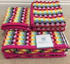 New Peri Home Rainbow Print Bath Towel Set 6PC NWT