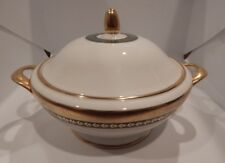 """MINTON """"IMPERIAL GOLD"""" PATTERN GREEN W/GOLD BAND ROUND COVERED VEGETABLE BOWL"""