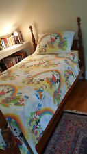 Vtg. 70s Disney Twin Sheet Set ~ Mickey Painting Rainbows ~ Flat, Fitted, Pillow