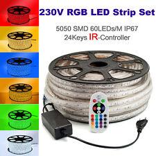 20 Meter 230V LED RGB Strip Streifen 60 LEDs/M IP67 IR Controller Dimmbar B-Ware