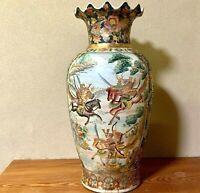 BIG Satsuma ware Vase Meiji Era Samurai Motif Japanese Porcelain Antique Japan