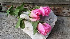 3 Rosen rosa am Stiel Hochzeit Seidenrose Autogirlande basteln