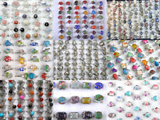 20-40 Wholesale lots jewelry Big assorted Natural Gemstone Stones Silver P Rings