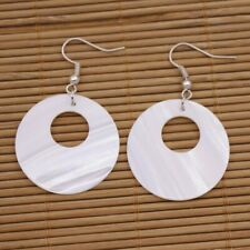 30mm Disc Coin Shell Natural White Mother of Pearl Drop/Dangle Earring 1PAIR